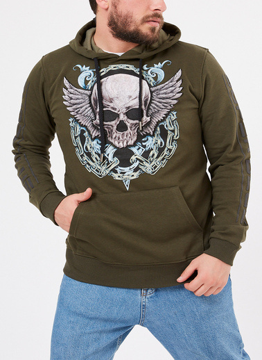 XHAN Indigo Baskılı Sweatshirt 1Kxe8-44317-35 Haki